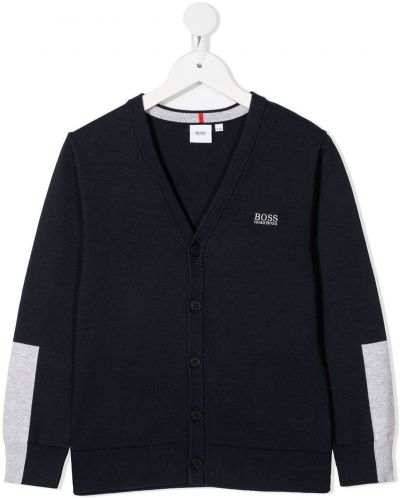 Синий кардиган на пуговицах с вышивкой Boss Kidswear