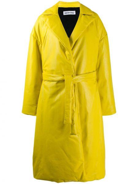 Кожаное пальто с запахом пальто-тренч Balenciaga