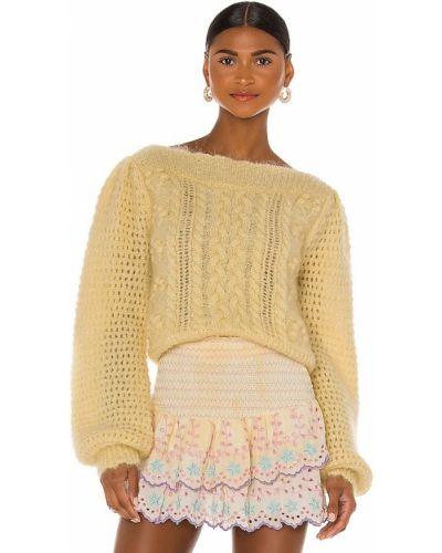 Z rękawami żółty pulower z moheru Loveshackfancy
