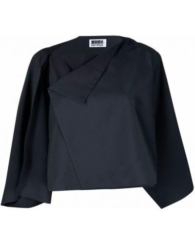 Синий удлиненный пиджак с воротником с запахом Issey Miyake