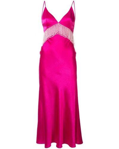 Розовое платье макси с бахромой с открытой спиной на молнии Dalood
