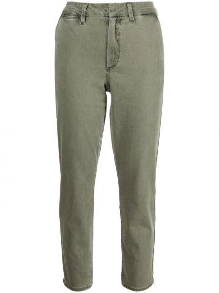 Укороченные зеленые брюки карго на молнии Paige