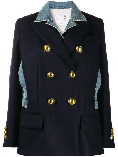 Синий удлиненный пиджак двубортный с карманами Sacai