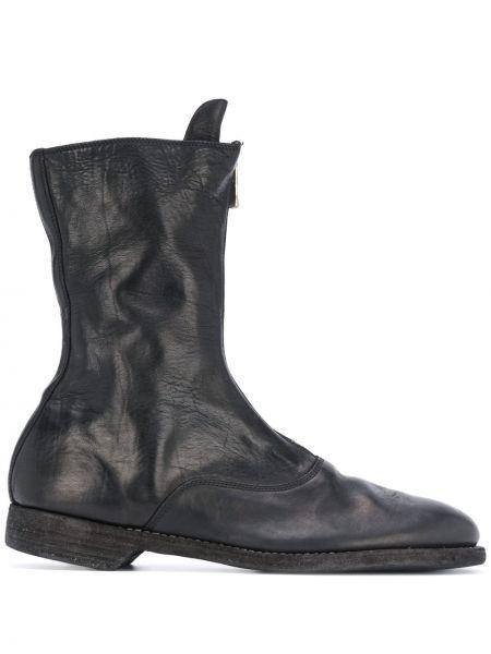 Czarny buty skórzane okrągły okrągły nos z prawdziwej skóry Guidi