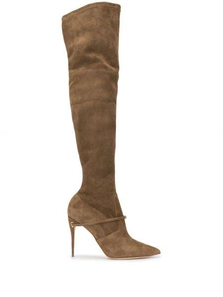 Золотистые коричневые сапоги на высоком каблуке на каблуке Jennifer Chamandi