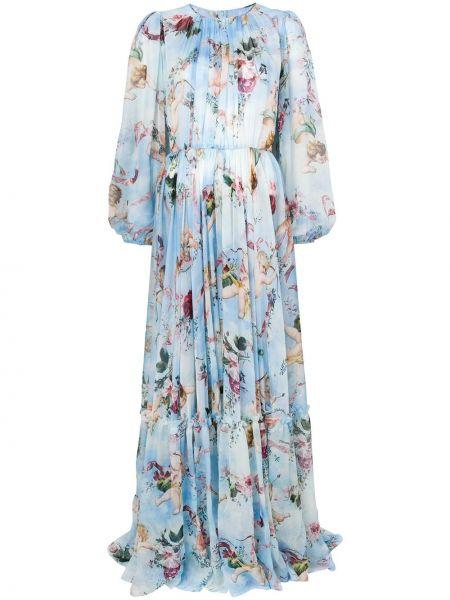 Летнее платье шелковое с цветочным принтом Dolce & Gabbana