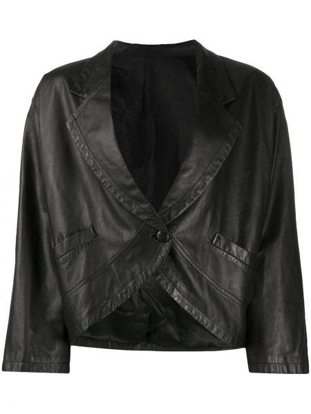 Черный кожаный пиджак с подкладкой A.n.g.e.l.o. Vintage Cult