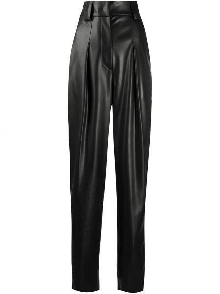 Czarne spodnie z wysokim stanem skorzane Brognano
