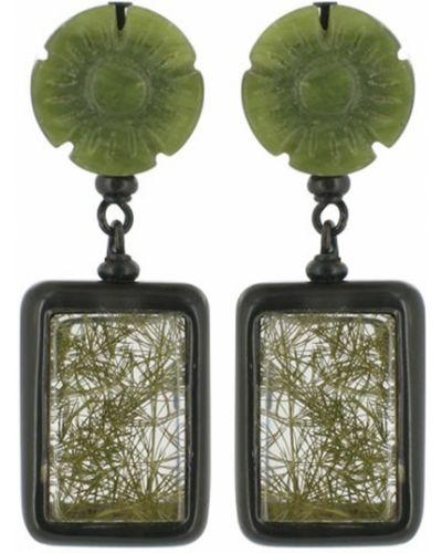 Серьги черные зеленый Nature Bijoux