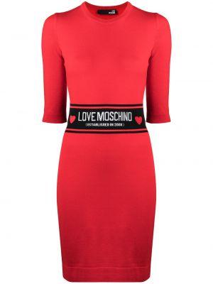 Прямое трикотажное красное платье Love Moschino