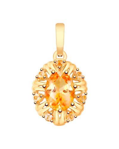 Золотая подвеска с топазом с камнями Sokolov