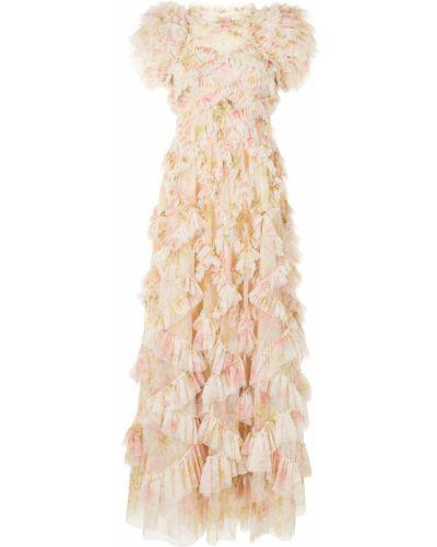 Желтое с рукавами платье макси с подкладкой Needle & Thread