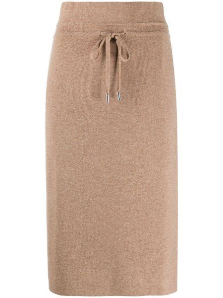 Вязаная коричневая кашемировая прямая вязаная юбка Max & Moi