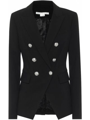 Ватный черный пиджак из вискозы Veronica Beard