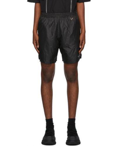Черные шорты с карманами для полных с сеткой We11done