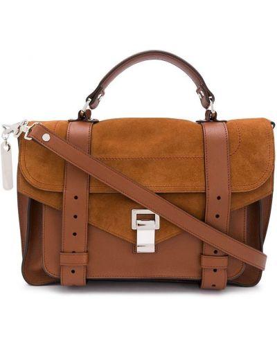 Коричневый кожаный сумка на плечо с перфорацией Proenza Schouler