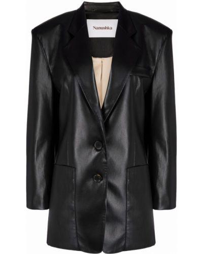 Черный кожаный удлиненный пиджак с карманами Nanushka