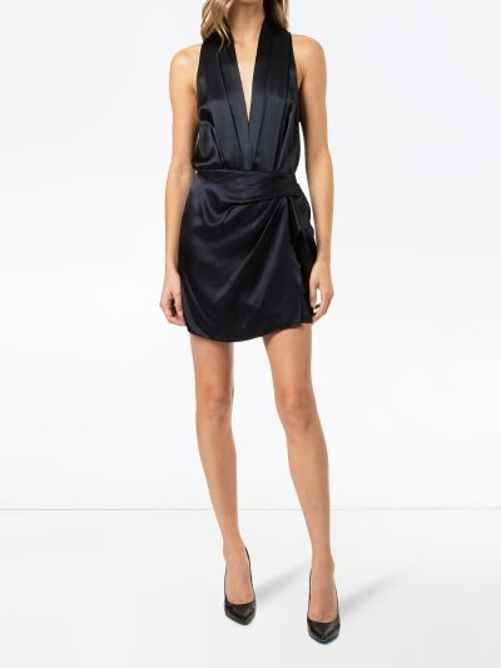 Синее боди без рукавов с V-образным вырезом Michelle Mason