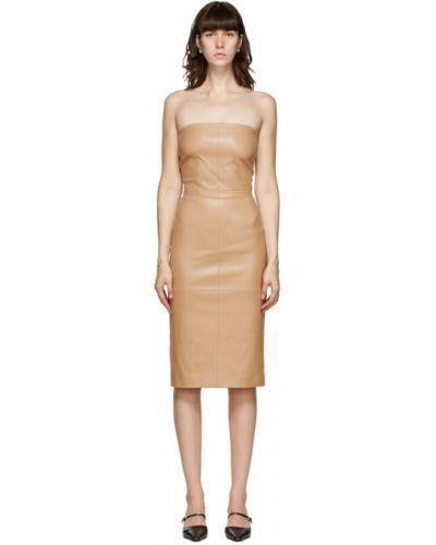 Кожаное платье без рукавов стрейч Rosetta Getty