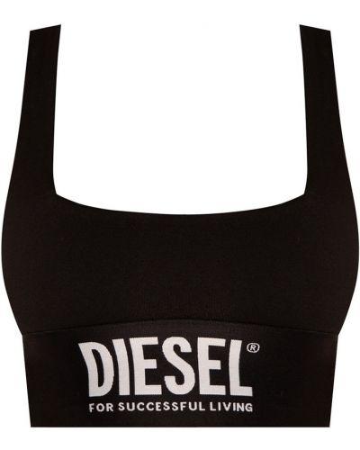 Czarny biustonosz sportowy w paski Diesel