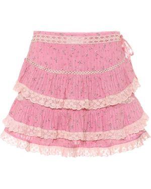 Плиссированная ватная хлопковая розовая юбка мини Loveshackfancy