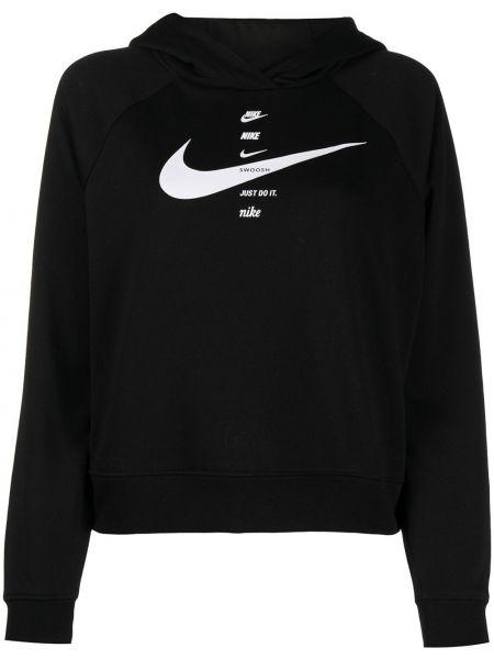 Czarny klasyczny bluza z kapturem z długimi rękawami Nike