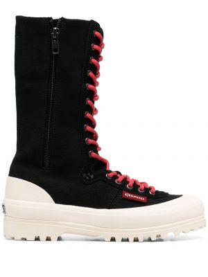 Черные кожаные сапоги на шнуровке Superga
