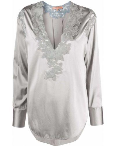 Серая шелковая кружевная блузка с длинным рукавом с V-образным вырезом Ermanno Scervino