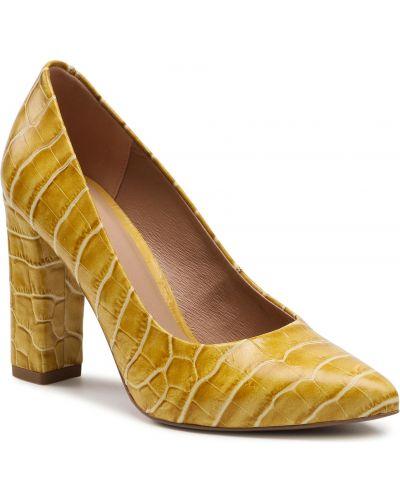 Półbuty skórzane - żółte Wojas