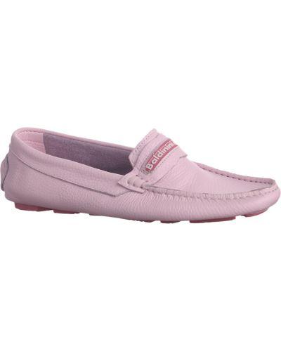 Мокасины кожаные розовый Baldinini