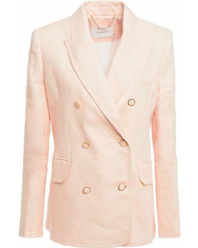 Льняной пиджак двубортный с карманами Zimmermann