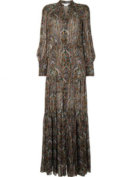 Коричневое шелковое платье макси на пуговицах с воротником Veronica Beard