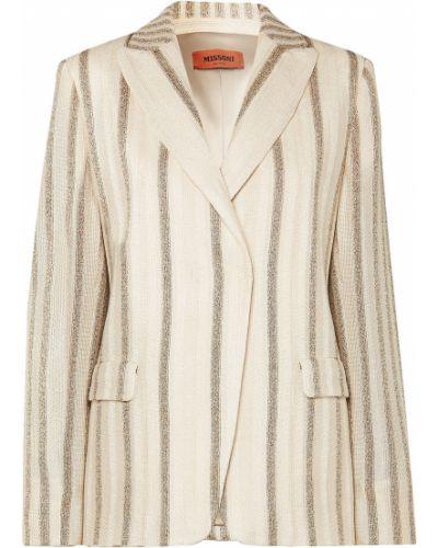Бежевый пиджак с карманами в полоску Missoni