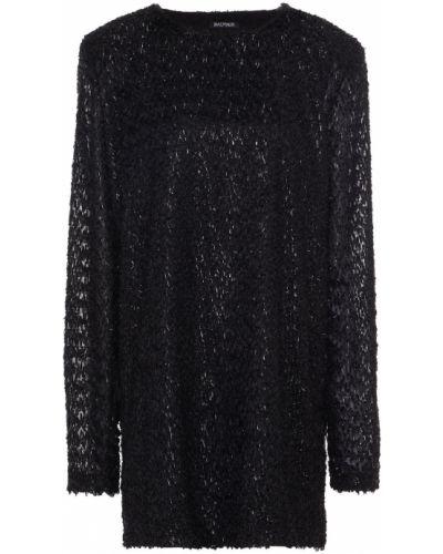 Черное платье из вискозы Balmain