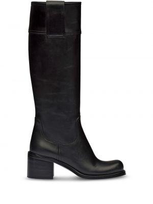 Czarny buty na pięcie z prawdziwej skóry na pięcie w połowie kolana Miu Miu