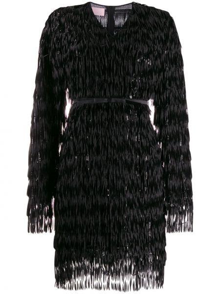 Czarna sukienka długa z długimi rękawami z dekoltem w serek Giamba