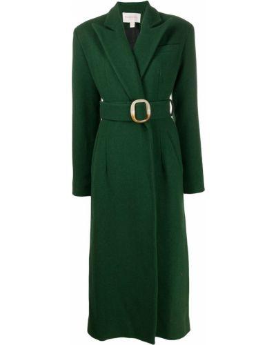 Шерстяное длинное пальто с поясом золотое Matériel