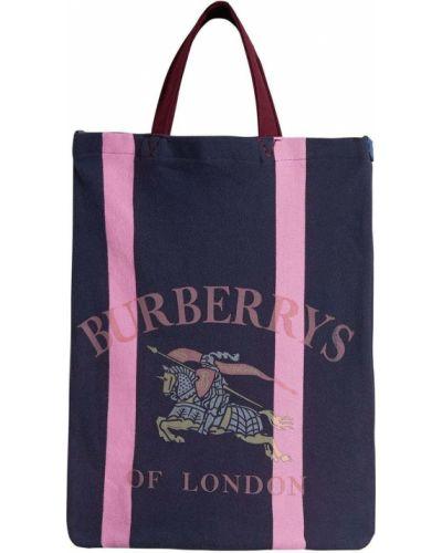 Niebieski bawełna skórzany torba na zakupy z łatami Burberry