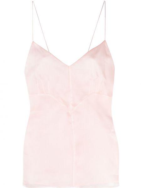 Розовый шелковый топ на бретелях Emilio Pucci