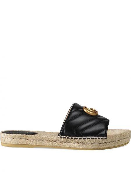 Sandały skórzane na platformie - czarne Gucci