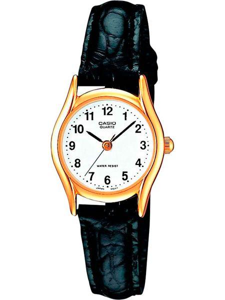 Часы на кожаном ремешке кварцевые водонепроницаемые Casio
