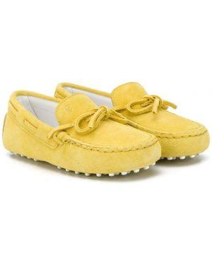 Желтые кожаные мокасины с бантом Tod's Kids