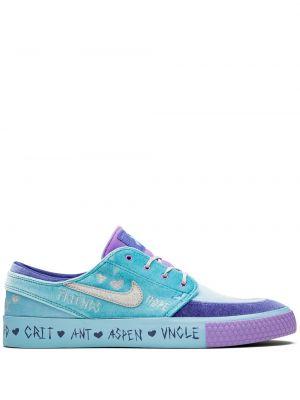 Фетровые фиолетовые кроссовки на каблуке Nike