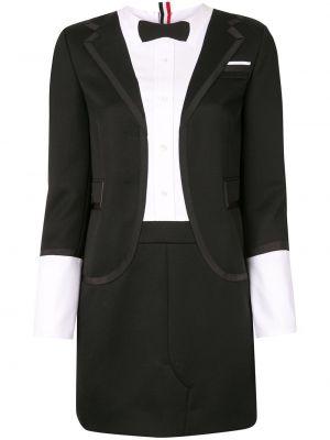 Czarna sukienka midi z długimi rękawami z jedwabiu Thom Browne