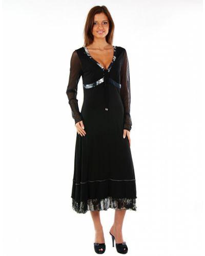 Платье из вискозы - черное Cappopera Capponi&perani