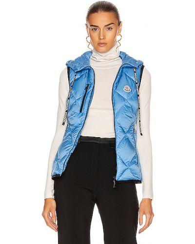 Синяя пуховая жилетка с карманами Moncler