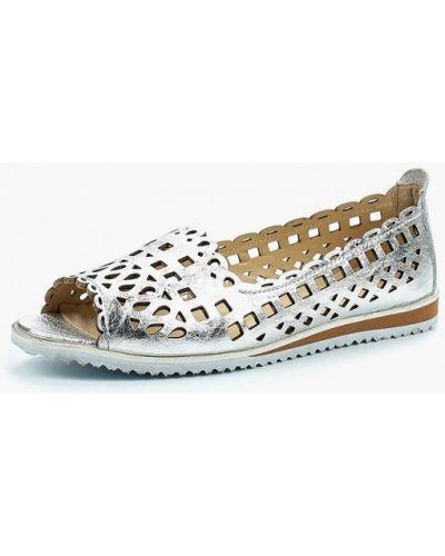 Балетки с открытым носком серебряного цвета Alessio Nesca
