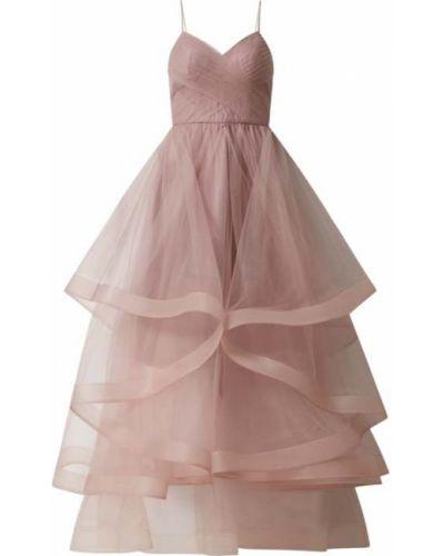 Różowa sukienka wieczorowa rozkloszowana Laona