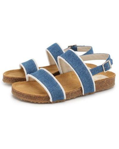 Кожаные босоножки синие текстильные Il Gufo