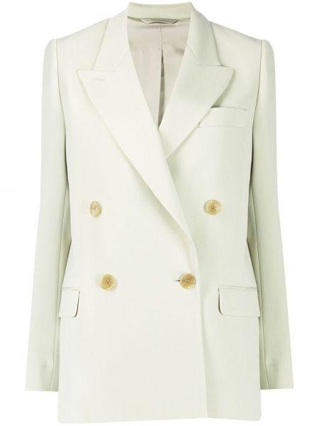 Шерстяной удлиненный пиджак двубортный с карманами Acne Studios